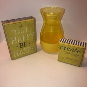 NWT yellow wooden inspirational signs & vase